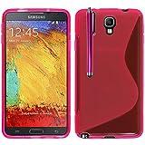 VComp-Shop® S-Line TPU Silikon Handy Schutzhülle für Samsung Galaxy Note 3 Neo SM-N7505 + Großer Eingabestift - PINK