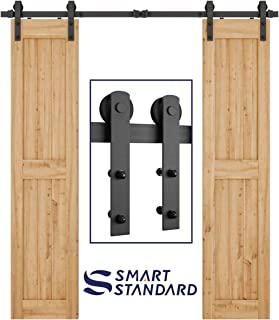 SMARTSTANDARD 6.6FT Heavy Duty Double Door Sliding Barn Door Hardware Kit-Smoothly and Quietly-Easy to Install-Includes Step-by-Step Installation Instruction Fit 20