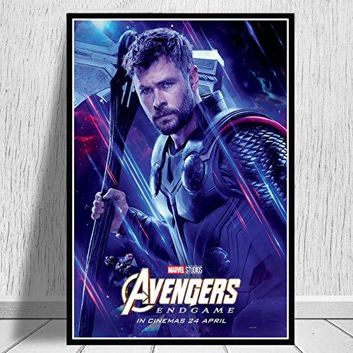 DOUYUAN Impresiones de Carteles Avengers Endgame Character Iron Man Thor Capitán América Marvel Movie Art Wall Pictures para Sala de Estar Decoración para el hogar 50x70 CM Sin Marco