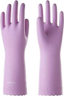 LANON Protection Reusable Cleaning Gloves wahoo PVC Dishwashing Gloves w/Cotton Flock Liner, Non-slip Household Gloves for Gardening, Kitchen, Waterproof, Size M/8, Intertek Listed
