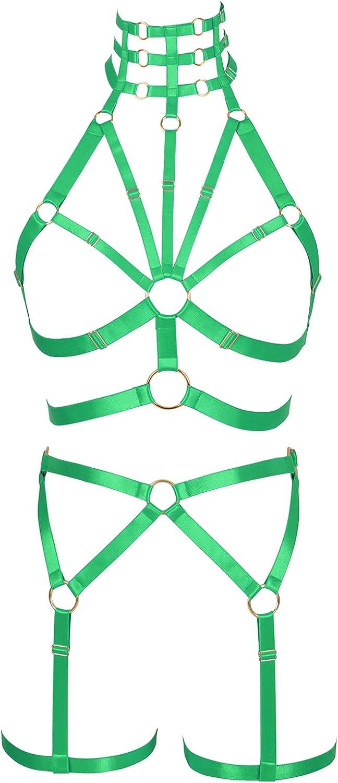 Lingerie cage Bra Full body harness for women Punk Plus size Halloween Chest strap Gothic Festival Rave Garter belt set