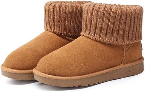 TT&XUEDIXUE Bottes de neige hiver   écolières tube court court   plus velours rembourré chaussures femme   un pédale coton chaussures à talons   marron   sable   gris , chestnut , 39