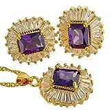 Rizilia Joyas corte de la esmeralda del Amatista Púrpura de la piedra preciosa zirconia 18K Chapado en oro amarillo collar pendientes Conjunto de joyas [bolsa de la Joyas libre]