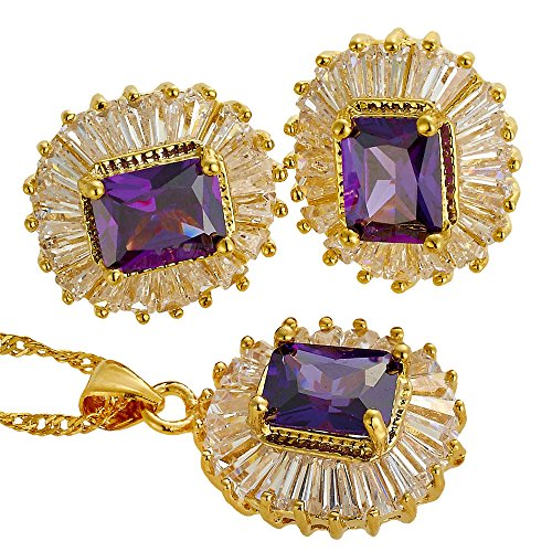 RIZILIA Jewelry Set Pendant with 18' Chain & Stud Earrings Rectangular Cut CZ [Simulated Purple Amethyst] in Yellow Gold Plated, Simple Modern Elegant