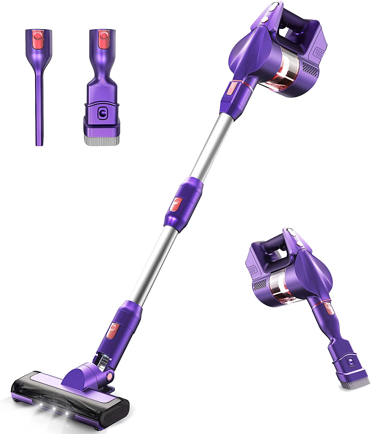 Cordless Vacuum Cleaner 26Kpa Powerful Suction Stick Vacuum KOXXBASS Lightweight 3 Speed Modes Vacuum Cleaner with LED Headlights Detachable Battery for Home Hard Floor Carpet Car Pet Hair Furniture