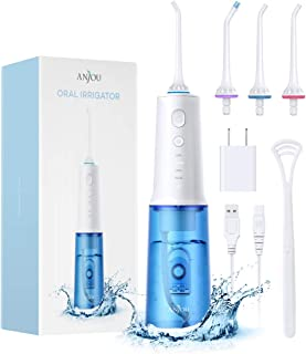 Water Flosser Cordless Teeth Cleaner, 320ML Professional Dental Oral Irrigator 4 Modes & Jets IPX7 Waterproof Cleanerable Water Tank Portable and USB Rechargeable for Home Travel, Braces & Bridge Care