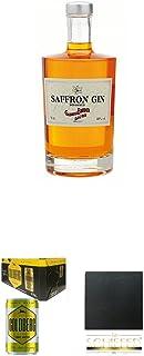 Boudier Saffron Frankreich Gin 0,7 Liter  Goldberg Tonic Water DOSE 8 x 0,15 Liter Karton  Schiefer Glasuntersetzer eckig ca. 9,5 cm Durchmesser