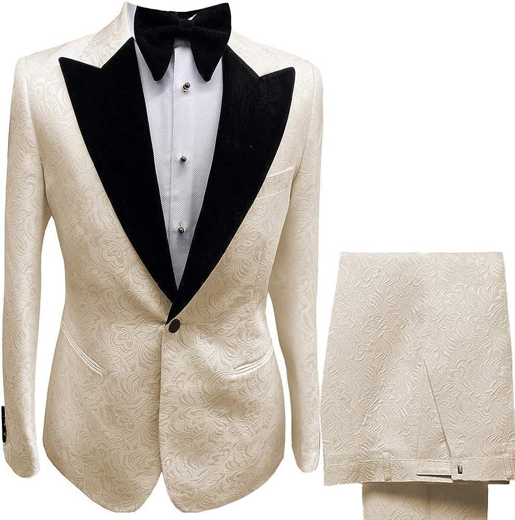 Frank Men's Suit Colorful Jacquard Peaked Lapel 2 Pieces Wedding Jacket Pants Suit