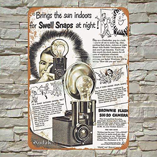 Ellis 1949 Kodak Brownie Flash Seis-20 Cámara Vintage Retro Metal Estaño Sign Decoración de Pared para Store Man Cave Bar Home Garage