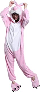 New Cute Pink Rabbit Pajama Cosplay Costume Unisex Adult One Piece