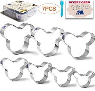 Mickey Mouse Cookie Cutter Set, Mickey Mouse Cookie Molds Pastry Biscuit Cookie Cutter Cake Fondant Pancake Cutters Mold for Kids 7Pcs set with recipe Stainless Steel GIFT PACKAGE
