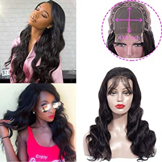 Body Wave Human Hair Lace Front Wigs 4x4 Lace Closure Wigs For Black Women With Baby Hair Natural Hairline 150 Density Unprocessed Virgin Remy Human Hair Wigs Free Part Natural Color(22 Inch)