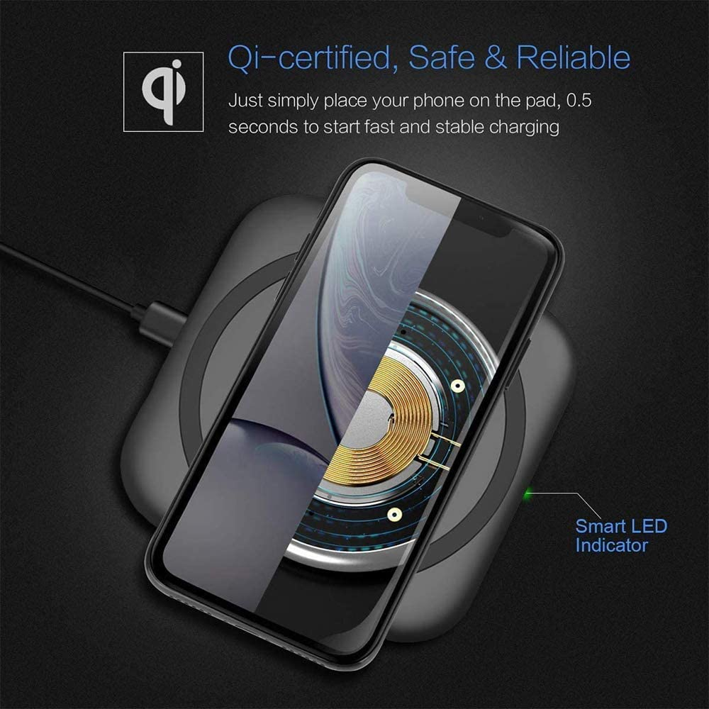 NXET Universal Qi-Certified 10W//7.5W Fast Wireless Charger Qi Charging Pad for Apple iPhone//Samsung Galaxy//Buds+ Black AirPods Pro//HUAWEI//XiaoMi//OnePlus and More