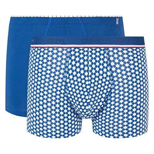 Dim Herren Boxer Cup X2 Boxershorts, Bleu Acier/Imprime Foot, Small (2er Pack)