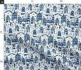 Spoonflower Stoff – Delft Wasserfarbe holländisch blau