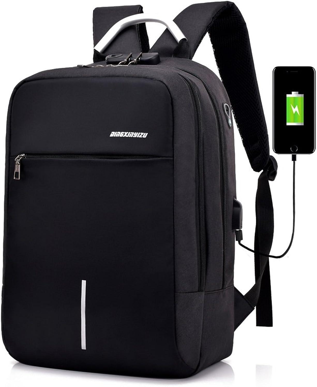MATCHANT Business Bag Men's USB Port Builtin Backpack Bag Earphone Hole Design AntiTheft Large Capacity Multifunction Backpack Lightweight Popular Commuter Commute Business Trip 2 color Expansion