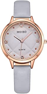Women's Leather Strap 32mm Dress Watch Rose Gold Watch Analog Quartz Stainless Steel Mesh Band Casual Fashion Ladies Wrist Watches Business Watch