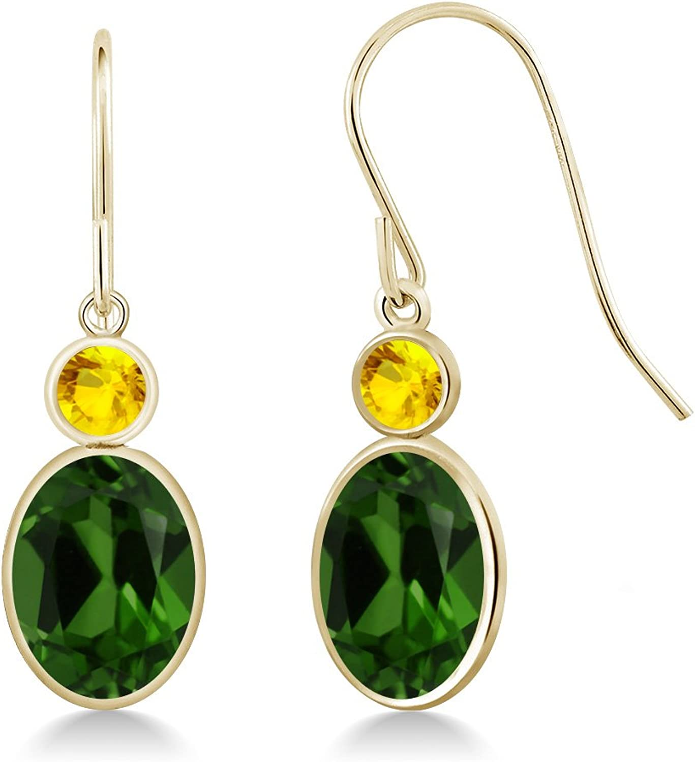 2.67 Ct Oval Green Chrome Diopside Yellow Sapphire 14K Yellow gold Earrings