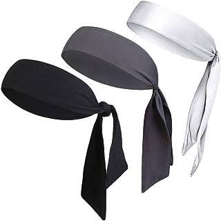 "V-SPORTS Dri-Fit Head Ties Tennis Headbands Sweatbands Performance Elastic and Moisture Wicking, Black/White/Gray, 3 Piece, One Size, 40.16""L/2.37"" W"