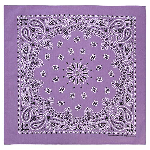 100% Cotton Western Paisley Bandanas (22 inch x 22 inch) Made in USA - Lavender Single Piece 22x22 - Use For Handkerchief, Headband, Cowboy Party, Wristband, Head Scarf - Double Sided Print