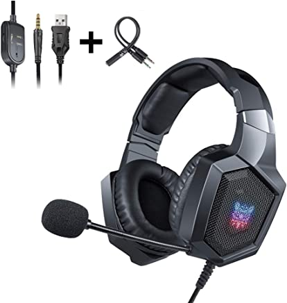 Computer,Yellow Ipad iPod LBAFS Game Headphones 3.5mm Stereo Over-Ear Headset with Line Control and Microphone Gaming Headset Compatible with MP3//4