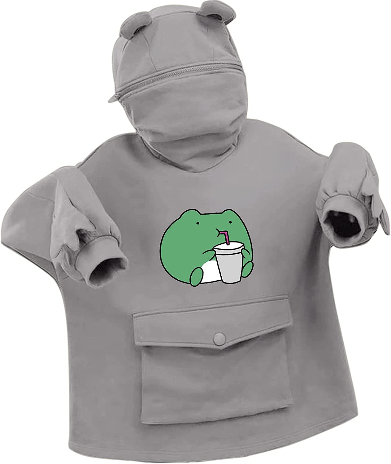 Hotkey Hoodies for Women Cute Frog Drink Hoodie Pullover Zipper Mouth Hooded Sweatshirt with Large Front Pocket for Teen Girl