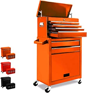 Removable 2 in 1 Tool Box,8-Drawer Large Capacity Tool Chest,Detachable Tool Storage Cabinet,Tool Organizer With 4 Wheels,Sliding Metal Tool Cabinet/Lockable Drawer,Orange