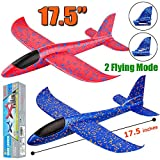 2 Pack Airplane Toys, 17.5' Large Throwing Foam Plane, 2 Flight Mode Glider Plane, Flying Toy for Kids, Gifts for 3 4 5 6 7 Year Old Boy, Outdoor Sport Toys Birthday Party Favors Foam Airplane