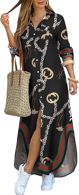 Nextgale Women's Casual Long Sleeve Abstract Maxi Shirt Dress