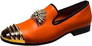 Chaussure Mocassin Homme Cuir Slip on Party Loafers Confort Casual Slippers avec Boucle en Métal Noir Bleu Orange Blanc