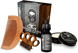 Beard Gains Pristine Every Day Carry Beard Care Kit - Beard Oil, Beard Balm Conditioner, Mustache Comb, Wooden Beard Comb