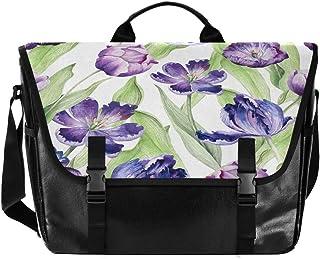 Bolso de lona para hombre y mujer, diseño de flores, color azul