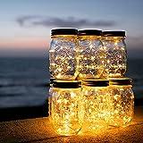 Solar Mason Jar Light - ELINKUME 1PCS 20LED Solar Lights Giardino impermeabile Luci sospese Luci esterne per il partito, Vacanze di Natale, Decorazione di nozze (bianco caldo)