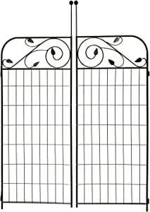 MTB Black Coated Steel Decorative Garden Fence Gate 8 Leaves, 44 Inches x 36 Inches