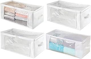 mDesign boîte de rangement avec fermeture éclair (lot de 4) – cube de rangement pratique en polypropylène – panier de rang...