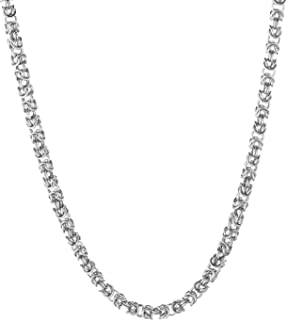 Quadri - Premium Quality 925 Sterling Silver Italian 5mm Solid Round Byzantine Link Chain Necklace for Women Men - 16 to 2...