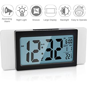 Neucox Silent Bedside Clocks Battery Operated Non Ticking Desk Clock Analogue Alarm Clock Bedroom Retro Alarm Clock Simple Loud Vintage Alarm Clocks with Light Large Display for Heavy Sleepers Office