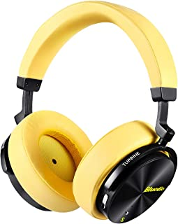 Bluedio T5S Active Noise Cancelling Bluetooth Headphones Over-Ear Stereo Smart Sensor Wireless Headsets 25 Hrs Playtime for Travel Work Computer Phone, Built-in Mic (Yellow)