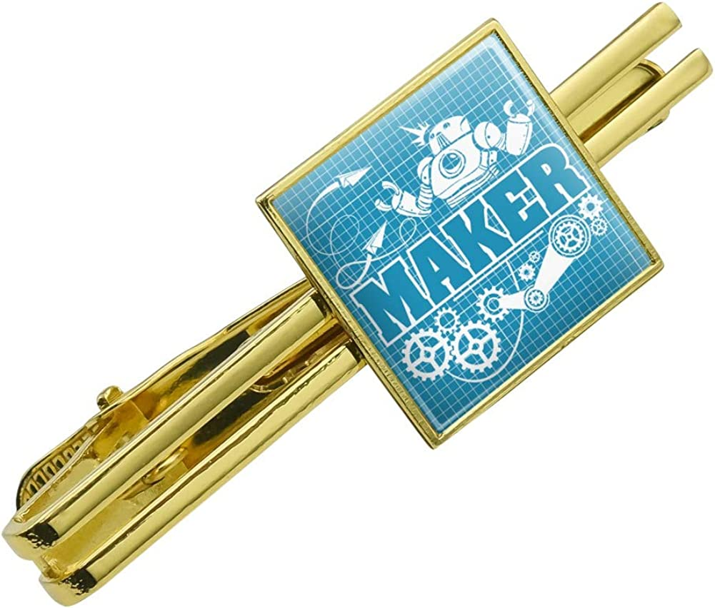 GRAPHICS & MORE Maker Blueprint Design with Robot and Gears Square Tie Bar Clip Clasp Tack Gold Color