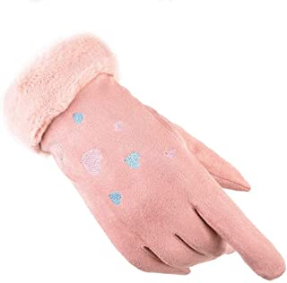 SGJFZD Winter Gloves Outdoor Windproof Touch Screen Texting Driving Elegant Gloves for Women Thermal Gloves (Color : Pink, Size : OneSize)