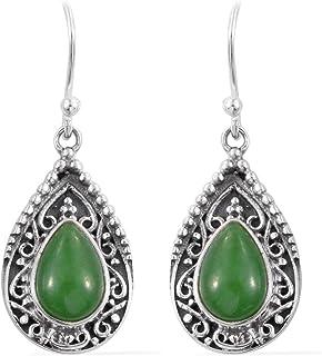 Pendientes de plata para regalo de verano, pendientes colgantes, pendiente de turquesa verde pera, pendientes colgantes Plata Aretes, Sterling Silver Earrings for Women