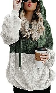 Women Casual Double Fuzzy Sweatshirt Faux Fleece Zip Pullover Hoodies Coat Outwear S-XXL