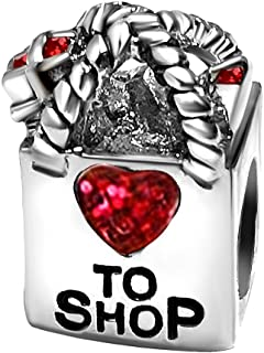 T50Jewelry Heart to Love Shop Charms Valentine Beads for Bracelets Women