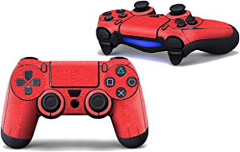 Professional 2 Pics PS Games Controller Stickers with Controllers Cap Carbon Fiber Skins for Playstation 4 PS4 Pro,Red