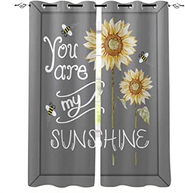 OneHoney Blackout Curtains for Bedroom Sunshine Quotes Sunflower Grommet Thermal Insulated Window Treatments Grey Home Decoration Drapes Set of 2 Panels, 52x96inx2
