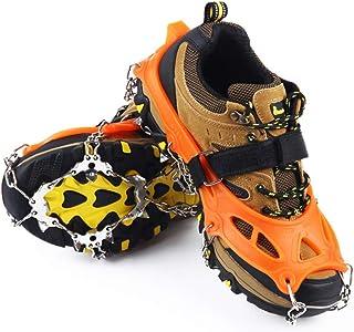 Weyo 19 Dientes Garras Acero Inoxidable Cadena Crampones Bota De Montaña Antideslizante Zapatos Cover para Camping y Alpinismo en Esquí Hielo Nieve Senderismo al Aire Libre Deportes Al Aire Libre