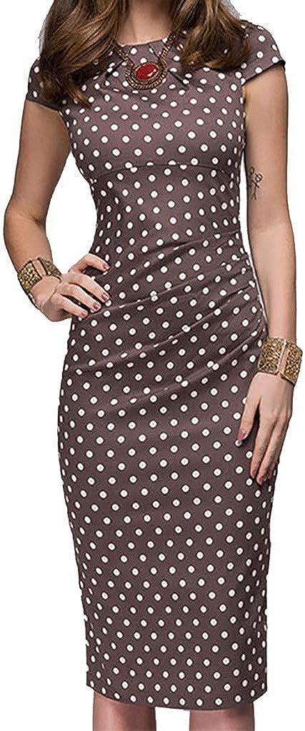 YANG-YI Hot Women Dot Dress, Elegant Wave Point Sashes Knee-Length Gown Casual Slim Short Sleeve Skirts