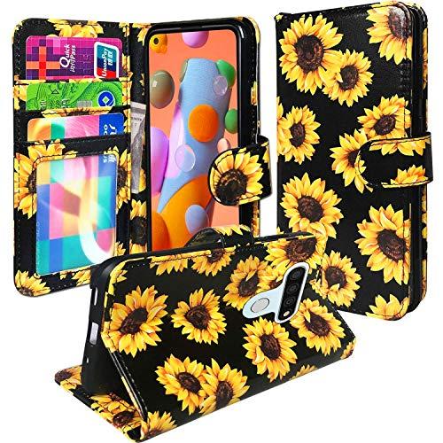 J.west - Funda tipo cartera para LG Stylo 6, diseño floral, diseño vintage, color amarillo, con 3 ranuras para tarjetas de crédito, soporte resistente y magnético, diseño de tirón, color negro