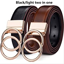 "MDZZ Belt Unisex Belt Leather 1.3"" Reversible 2 In 1 Rotated 2 Rings Gold Buckle Belts For Women And Men 150cm (Waist 135cm) oo-BK Light Br"