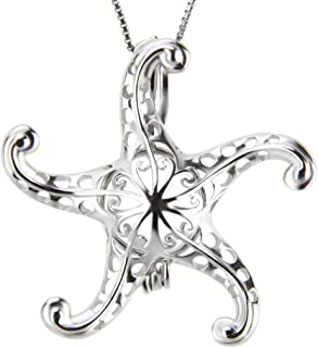 NY Jewelry 925 Sterling Silver Starfish Pendants for Pearl, Design Pearl Cage Pendants for Women Gift DIY Jewelry Making